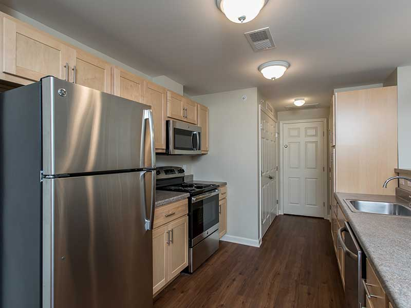 Kitchen in a 2-bedroom apartment at The Legends at Whitney Town Center