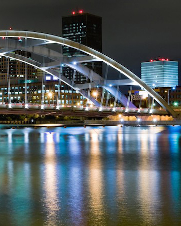 City of Rochester with Bridge lit up